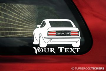 Datsun 240z stanced .custom add YOUR Text & Font. Silhouette sticker